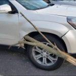 Ветка пробила автомобиль